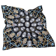 street-art-silk-scarf-by mocomoco-berlin-motif-london-artist-uberfubs-motif-sculls-and-jewellery-black-gold-silver-140x140cm