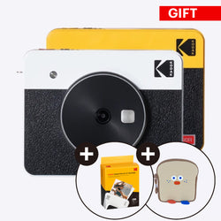 "[Gift Package] Kodak Mini Shot 3 Retro 3x3"" 2-in-1 Portable Wireless Instant Camera & Photo Printer, Compatible with iOS, Android & Bluetooth - Kodak Photo Printer"