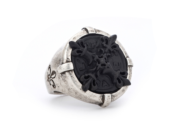 Signet Ring With Black X Medallion