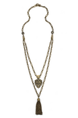 Brass & Pyrite Double Strand Chain With Pendant & Tassel