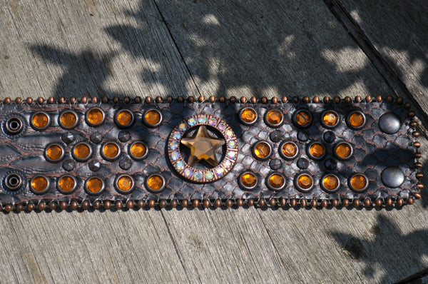 Wide Bourbon leather snap bracelet with topaz crystal star and bling