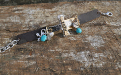 'Faith' Leather Bracelet with Cross and Charms