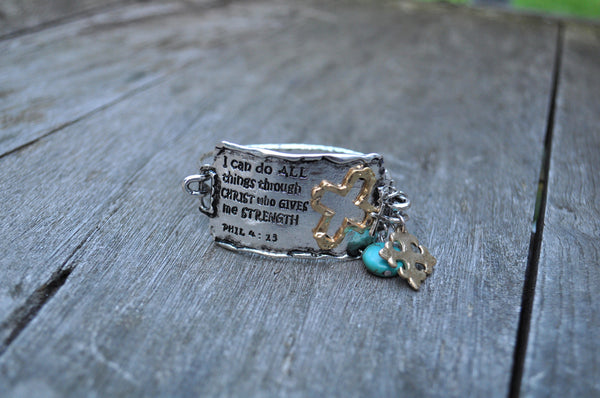 Hand stamped religious bracelets