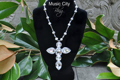 Authentic Freshwater Pearl, white topaz and Crystal Cross