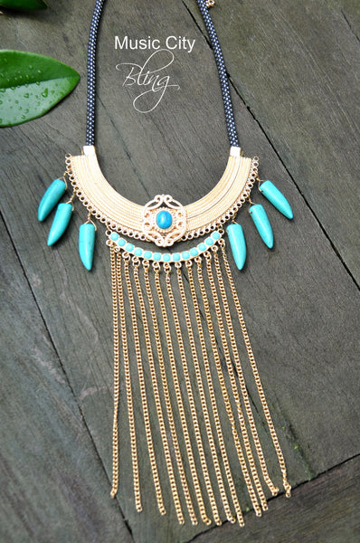 Turquoise tusk and chain necklace