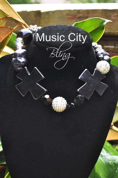 Rock Bling and Ebony Stone Cross Necklace