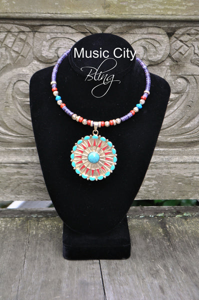 Turquoise and Gold Medallion Choker