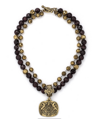 Double Strand Golden Garnet With Griffin Medallion