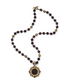 Garnet Mix With Amber Swarovski & Bumble Bee Medallion Necklace