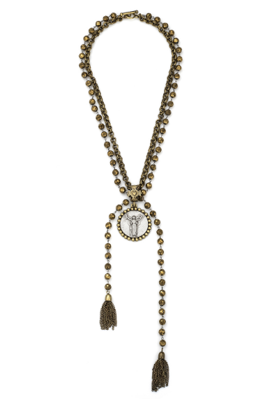 Golden Druzy With Civilization Medallion & Tassles