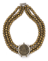 Triple Strand Golden Druzy Necklace With Mont Joye Medallion