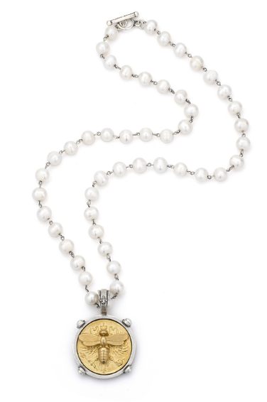Fresh Water Peal With Gold Bee Medallion Necklace