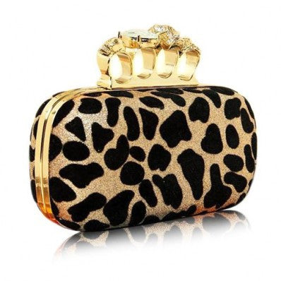 Leopard Skull Knuckle Clutch