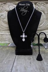 Antiquated Silver Cross with crystal stones