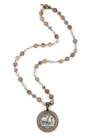 Fresh Water Pearl Necklace With Running Horse Medallion