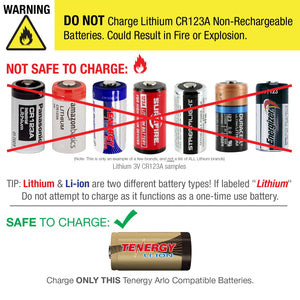 Tenergy - Arlo Certified rechargeable CR123A Batteries x 4