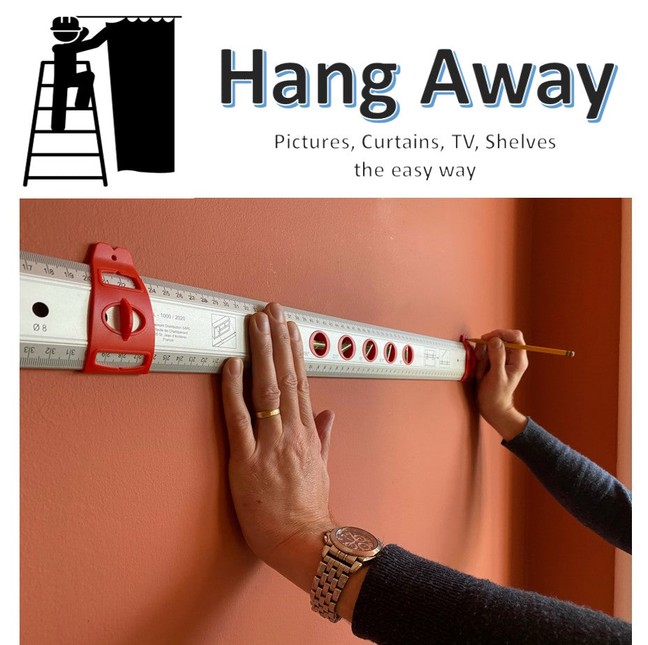 Hang Away - hanging tool for pictures, curtains, TV's, shelves & kitchen cabinets