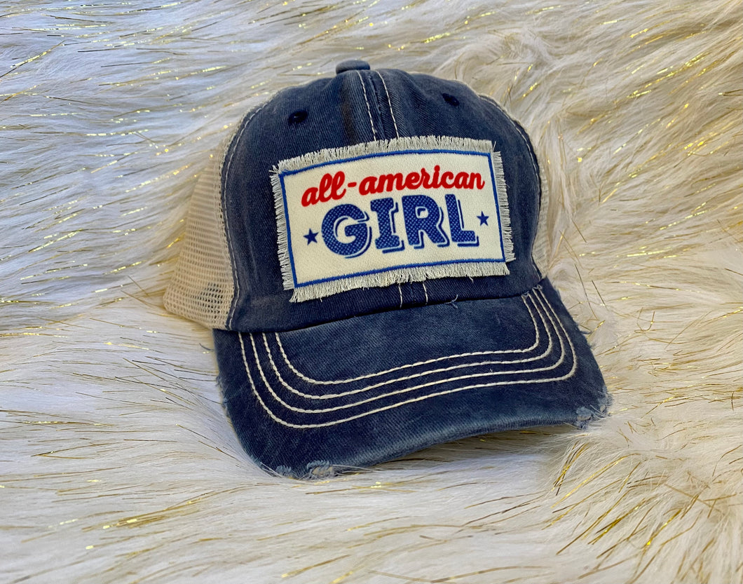 Girl's All American Patch Distressed Hat