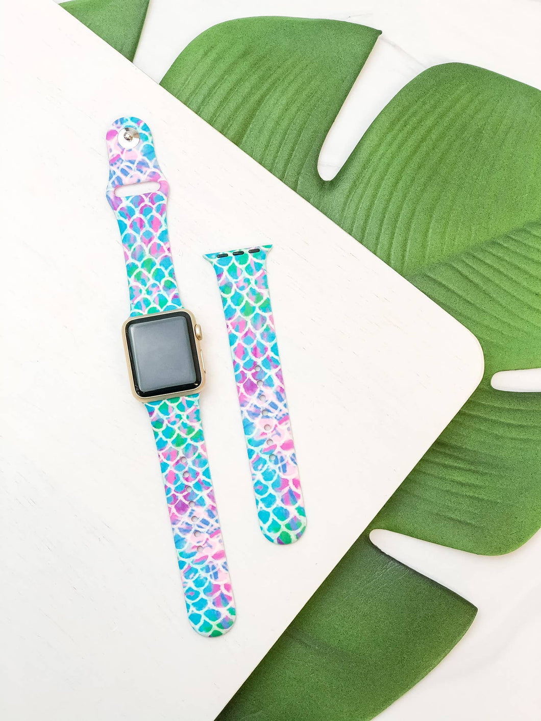 Blue Multi Mermaid Scales Printed Silicone Smart Watch Band