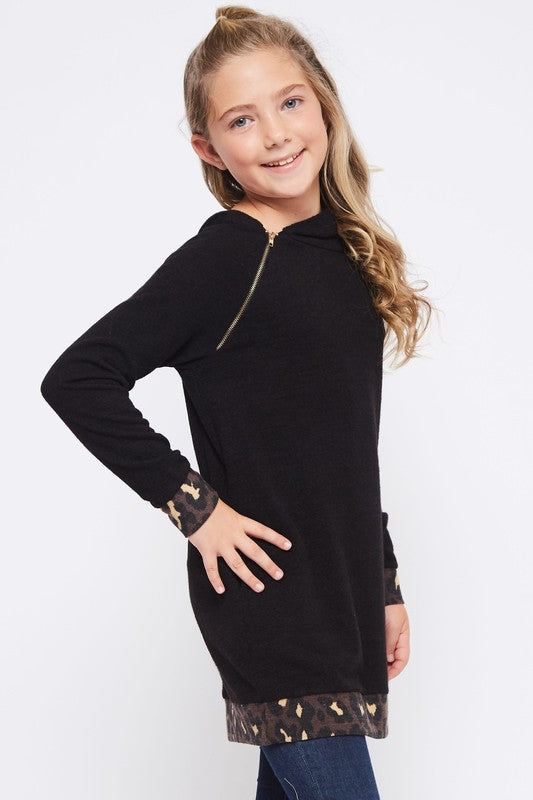 Black Tunic Hoodie with Leopard Trim