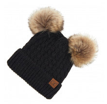 Load image into Gallery viewer, C.C Faux Fur Double Pom Pom Beanies