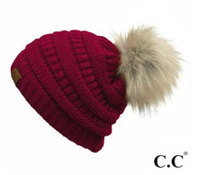 Load image into Gallery viewer, C.C Single Pom Pom Solid Knit Beanie