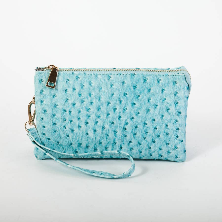 Ostrich Riley 3 Compartment Crossbody/Wristlet