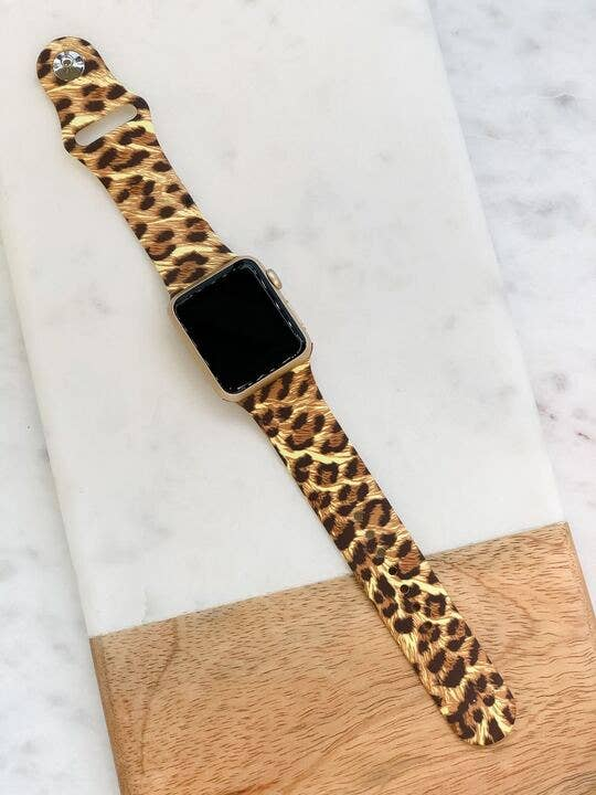 Leopard Printed Silicone Watch Band - M/L