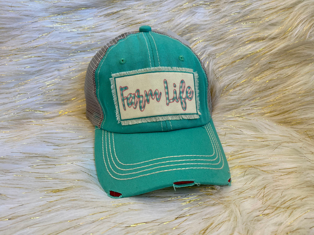 Farm Life Patch on Turquoise Distressed Hat