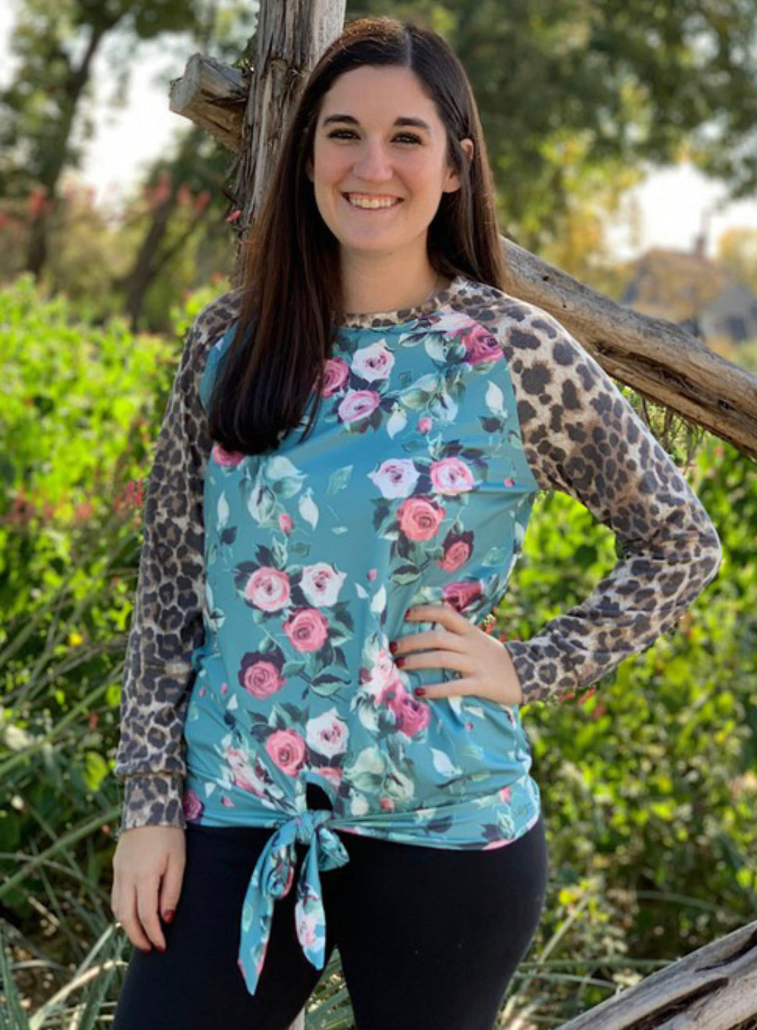 Mommy & Me Rose Printed Knot Top with Leopard Sleeves