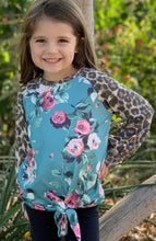 Load image into Gallery viewer, Mommy & Me Rose Printed Knot Top with Leopard Sleeves