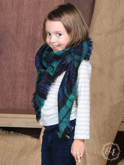 Girl's Enchanted Forest Plaid Blanket Scarf