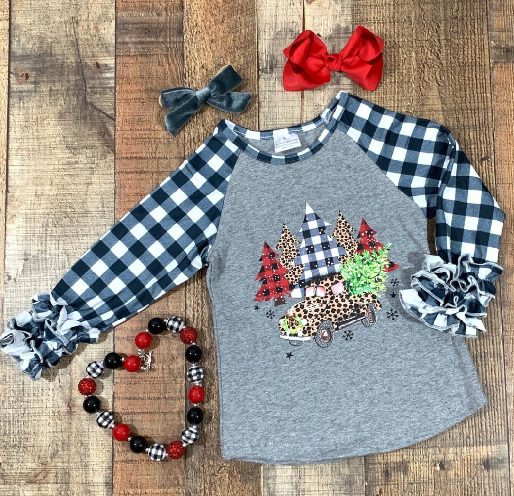 Black & White Plaid Christmas Truck Ruffle Shirt
