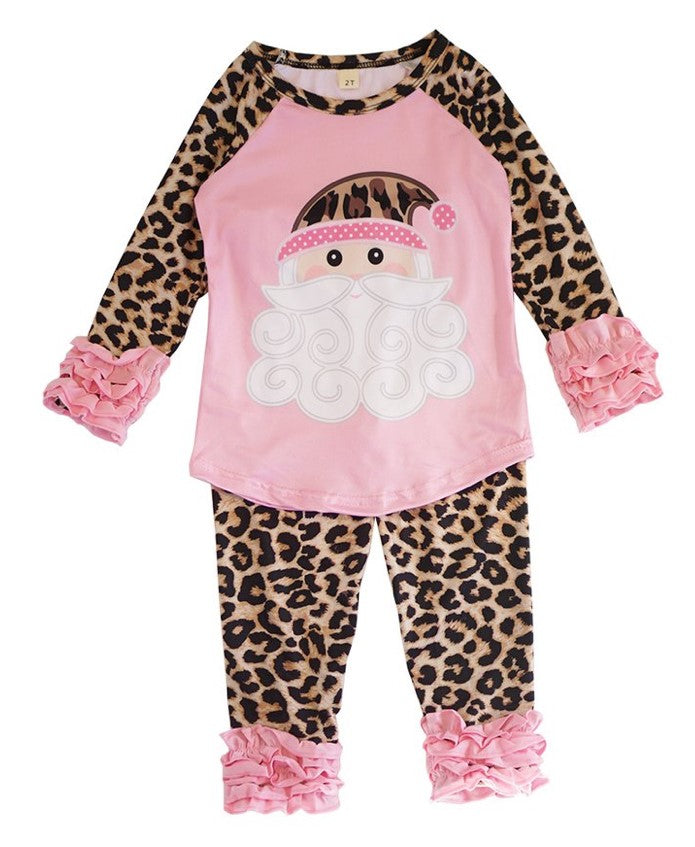 Girl's Pink Leopard Pants Set