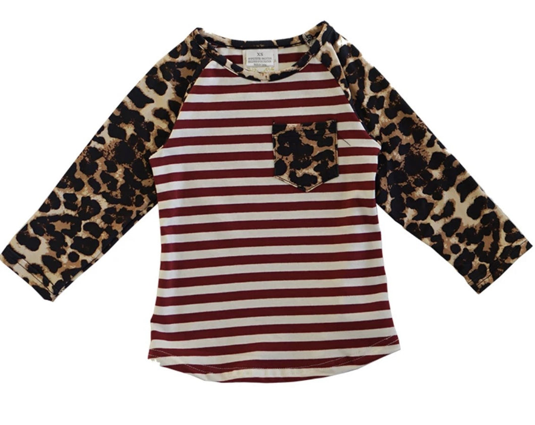 Red Stripe Leopard Sleeve Raglan