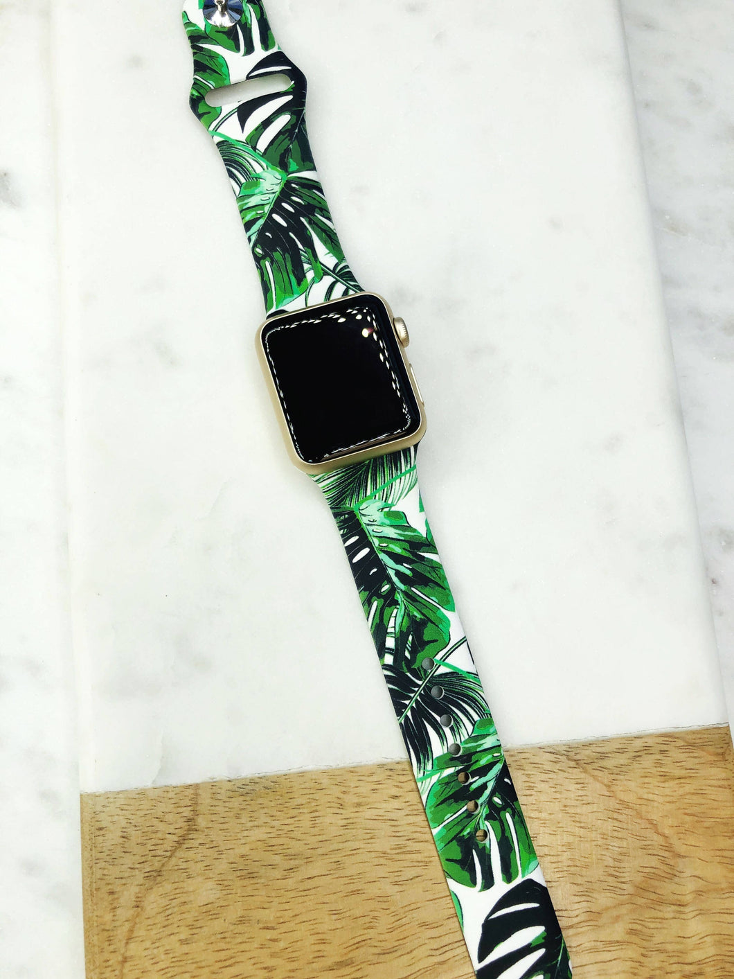Palm Leaves Printed Silicone Smart Watch Band