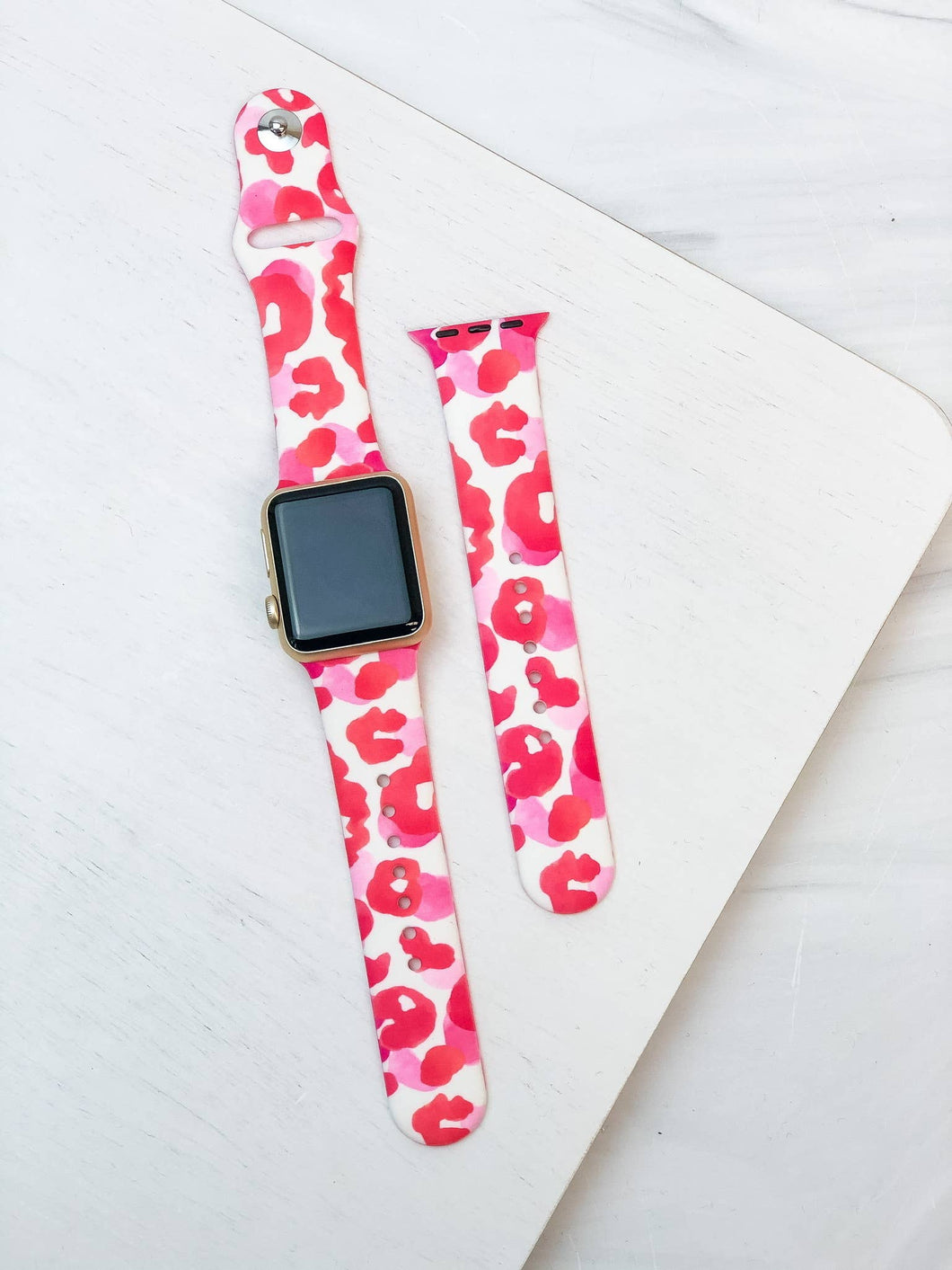 Pink Leopard Printed Silicone Smart Watch Band