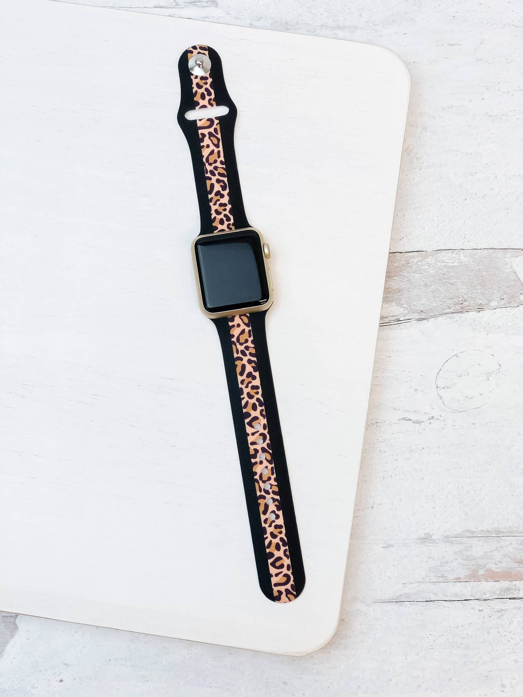 Leopard Stripe Silicone Smart Watch Band - Brown M/L