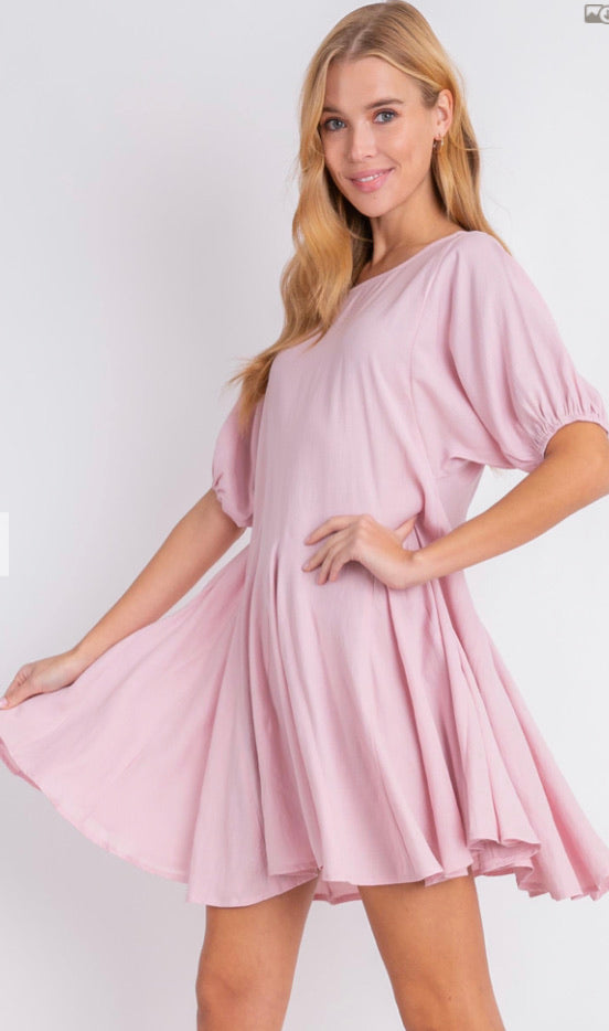 Pink Puff Sleeve Mini Flare Dress
