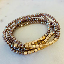 Load image into Gallery viewer, 5 Strand Stone and Gold Bracelet Stack - Mocha