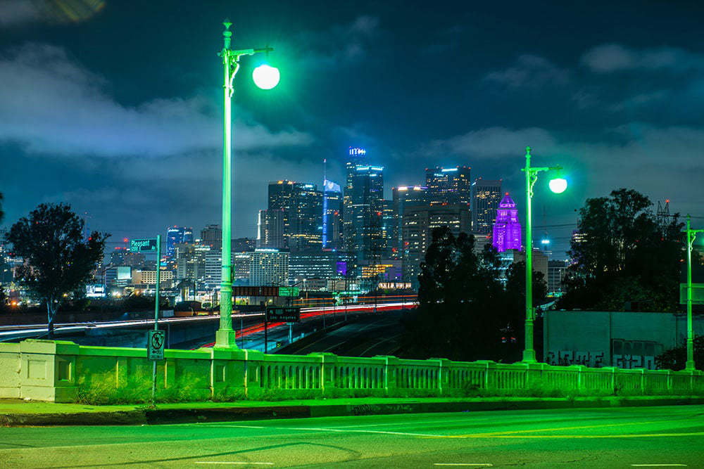 Downtown Los Angeles skyline at night fineart print