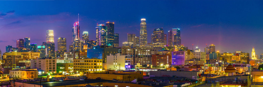 Downtown Los Angeles skyline at sunset panoramic fineart print