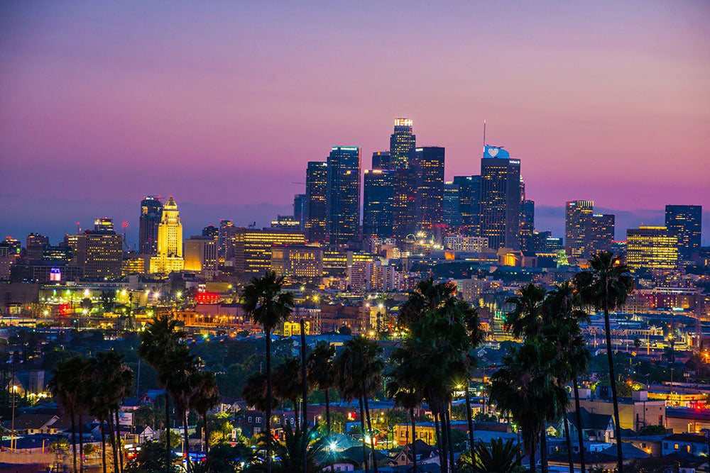 Downtown Los Angeles skyline at sunset fineart print