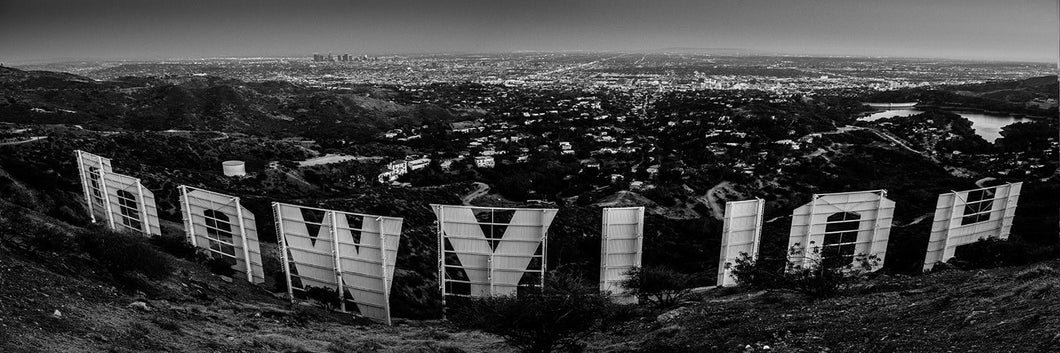 Hollywood sign with downtown skyline at sunset panoramic fineart print