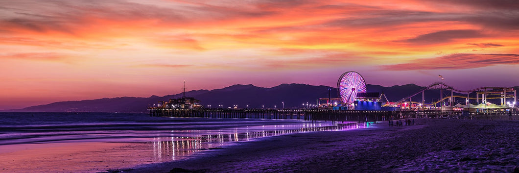 Santa Monica  pier at sunset panoramic fineart print