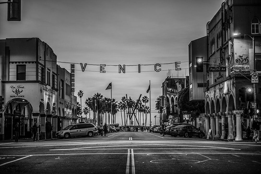 Venice Beach California at sunset fineart black and white print
