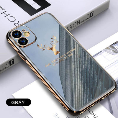 2020 Deer Pattern Camera All-inclusive Electroplating Process iPhone Case Niesaners Gray iPhone 11 Pro Max