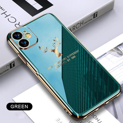 2020 Deer Pattern Camera All-inclusive Electroplating Process iPhone Case Niesaners Green iPhone 11 Pro Max