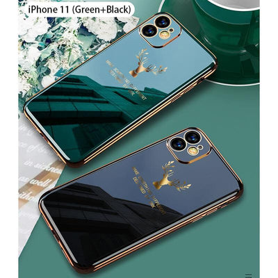 2020 Deer Pattern Camera All-inclusive Electroplating Process iPhone Case Niesaners Green+Black(Buy 2 get more 20% OFF) iPhone 11 Pro Max