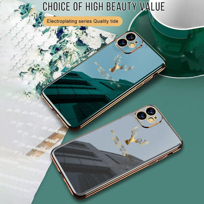 2020 Deer Pattern Camera All-inclusive Electroplating Process iPhone Case Niesaners Green+Gray(Buy 2 get more 20% OFF) iPhone 11 Pro Max
